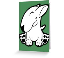 Side Sit English Bull Terrier  Greeting Card