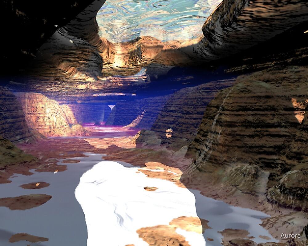 Underwater cave sunlight shines by Aurora