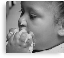 Dialogue Between Child and Cake Canvas Print