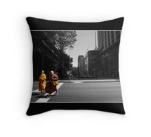 Monk Crossing Throw Pillow