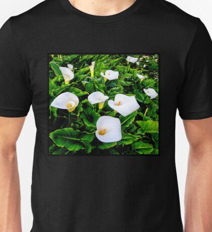 CALLA LILLIES; Garden Flower Print Unisex T-Shirt