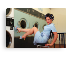 Retro Pin Up - Laundry Day Canvas Print