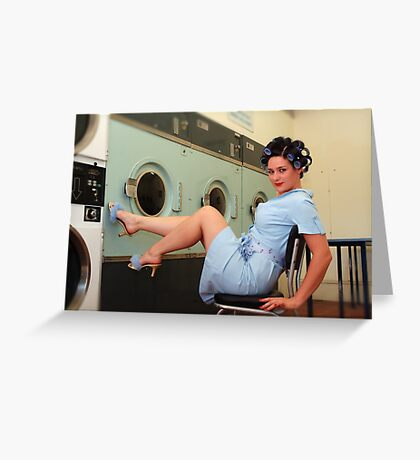 Retro Pin Up - Laundry Day Greeting Card