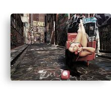 "Retro Pin Up, ""Wish you were here..."" Canvas Print"