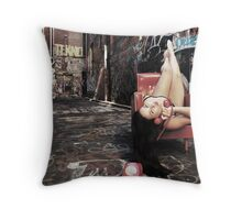 "Retro Pin Up, ""Wish you were here..."" Throw Pillow"