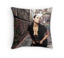 "Retro Pin Up, ""Dine In or Take Away"" Throw Pillow"