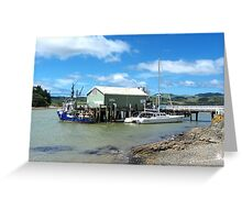 Mangonui Wharf - vessel contrasts.......! Greeting Card