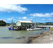 Mangonui Wharf - vessel contrasts.......! Photographic Print
