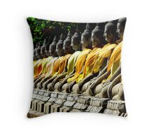 Buddha Row Throw Pillow