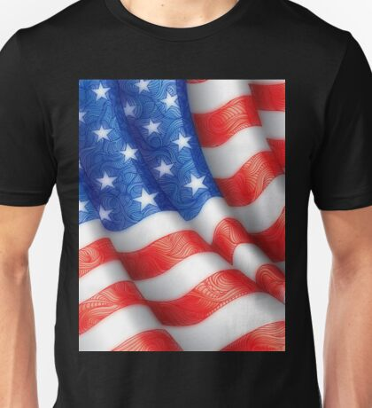 American Flag Artwork Zen Doodle Lines Red White Blue 4th of July Unisex T-Shirt