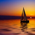 Sailboat against a beautiful sunset by Enjoylife