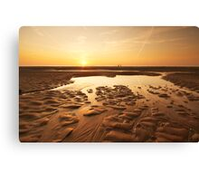 sunset evening on the beach Canvas Print