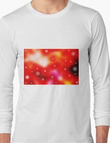 Snowflakes on red background Long Sleeve T-Shirt