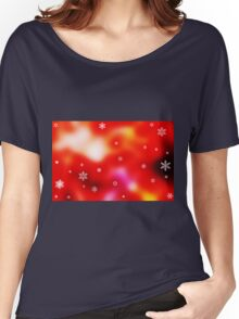 Snowflakes on red background Women's Relaxed Fit T-Shirt