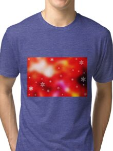 Snowflakes on red background Tri-blend T-Shirt