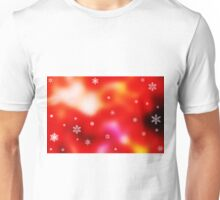 Snowflakes on red background Unisex T-Shirt