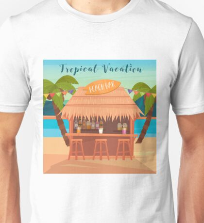 Tropical Vacation Banner with Beach Bar and Palm Trees Unisex T-Shirt