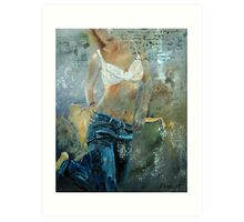 Young girl in jeans 451007 Art Print