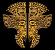 Yellow and Black Aztec Twins Mask Illusion by Jeff Bartels