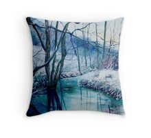 River Hileau in winter Throw Pillow