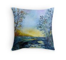 mist on river hileau Throw Pillow