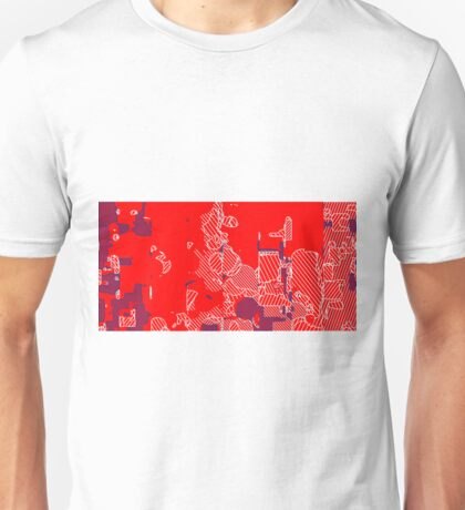 graffiti drawing and painting abstract in red and blue Unisex T-Shirt