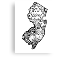 Hipster New Jersey Outline Metal Print