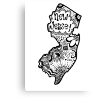 Hipster New Jersey Outline Canvas Print