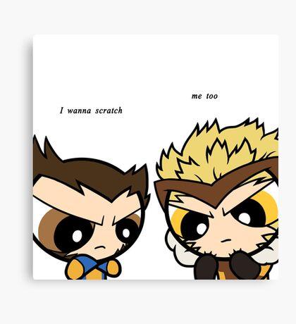 Puff Wolverine & Sabertooth - Xmen Canvas Print
