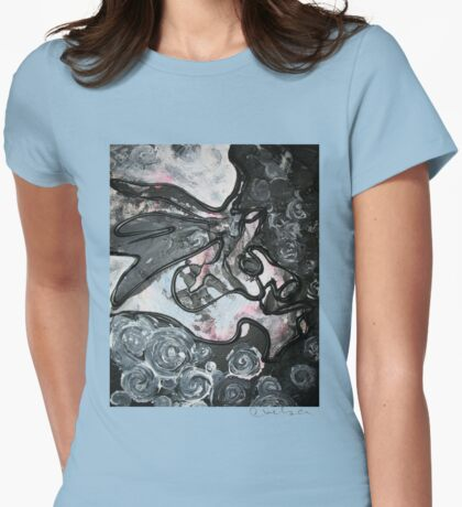 Gray Abstract Womens Fitted T-Shirt