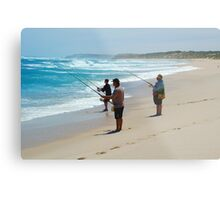 Beach Fishing Metal Print