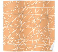 Peach White Abstract Stripes Poster