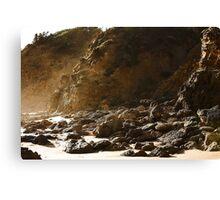 Seaspray rocky shore Canvas Print