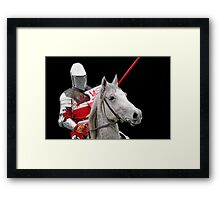 Medieval Knight On Horse Ready For Joust - On Black Framed Print