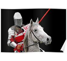 Medieval Knight On Horse Ready For Joust - On Black Poster