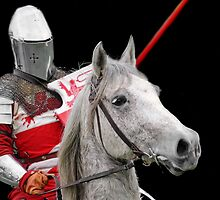 Medieval Knight On Horse Ready For Joust - On Black by Stuart Blythe
