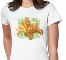 Daylily Green Vintage Bloom Womens Fitted T-Shirt