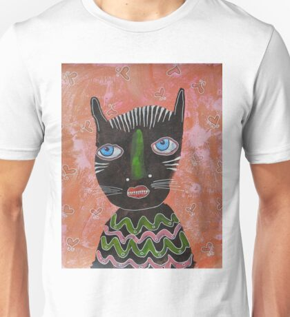 Black Cat Outsider Art Unisex T-Shirt