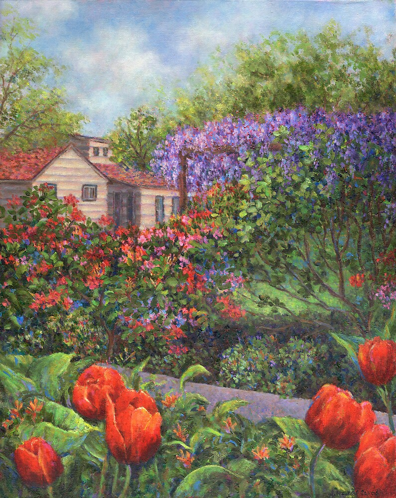 Garden with Tulips and Wisteria by Susan Savad