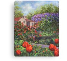 Garden with Tulips and Wisteria Canvas Print