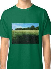 Green wheat field landscape Classic T-Shirt