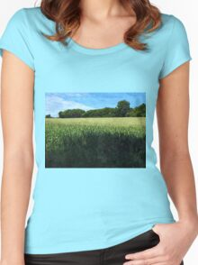 Green wheat field landscape Women's Fitted Scoop T-Shirt