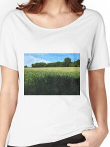 Green wheat field landscape Women's Relaxed Fit T-Shirt