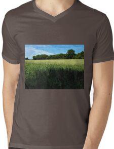 Green wheat field landscape Mens V-Neck T-Shirt