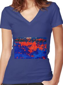 Rusty grunge aged steel iron paint background  Women's Fitted V-Neck T-Shirt