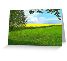 Green field country landscape Greeting Card