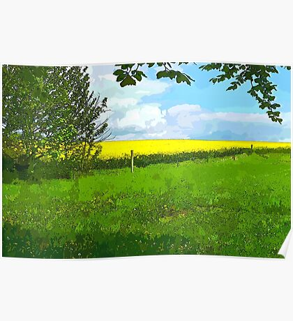 Green field country landscape Poster