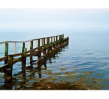 Beautiful seascape of a wooden footbridge Photographic Print