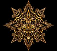 Ancient Yellow and Black Aztec Sun Mask  by Jeff Bartels