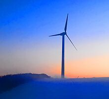 Alternative energy wind mills in the snow by Ron Zmiri